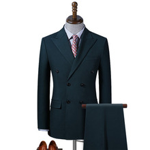 Suit Business Two-Piece Korean-Version Dark-Green Casual Double-Breasted-Suit Slim The
