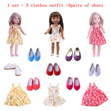 14.5-inch Wellie Wisher doll clothes 1 set = 3 princess dresses + pairs of shoes for American accessories
