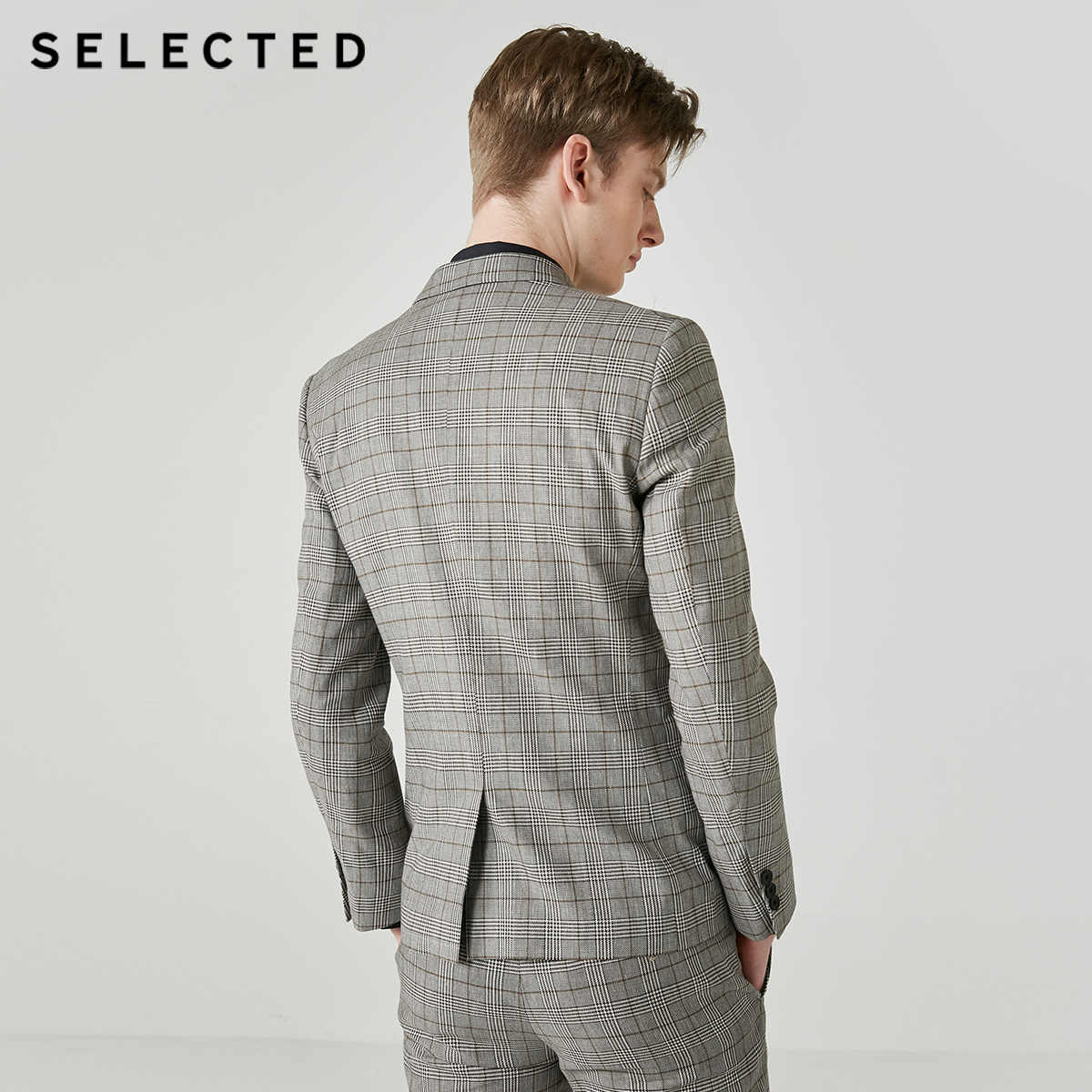 SELECTED 남성 코튼 블렌드 체크 무늬 더블 브레스트 재킷 S | 419272513