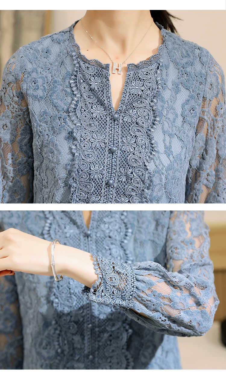 Dantel alt kadın bluz gömlek çiçek Blusa uzun kollu bahar 2020 yeni kadın v yaka dantel üst kazak Tops 620B