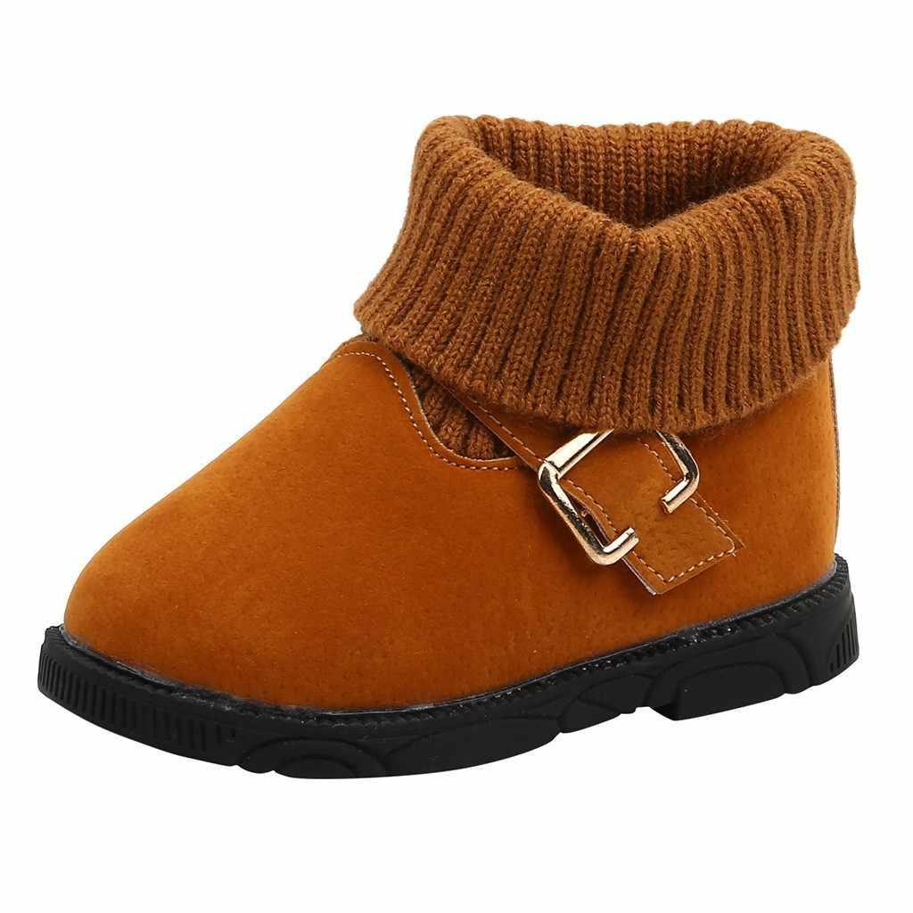 Toddler Bebek Çocuk Bebek Kız Kış sıcak Düz kısa çizmeler Bootie rahat ayakkabılar Çocuklar yarım çizmeler