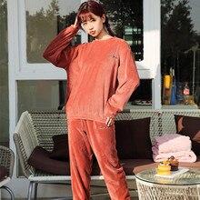Зимний толстый женский пижамный комплект, осенне-зимняя фланелевая теплая Пижама с рисунком, Женская домашняя одежда, женская пижама
