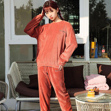 Winter Thick Women Pajamas Set Autumn winter Flannel Cartoon Warm Pyjamas Homewear Sleepwear female pajama