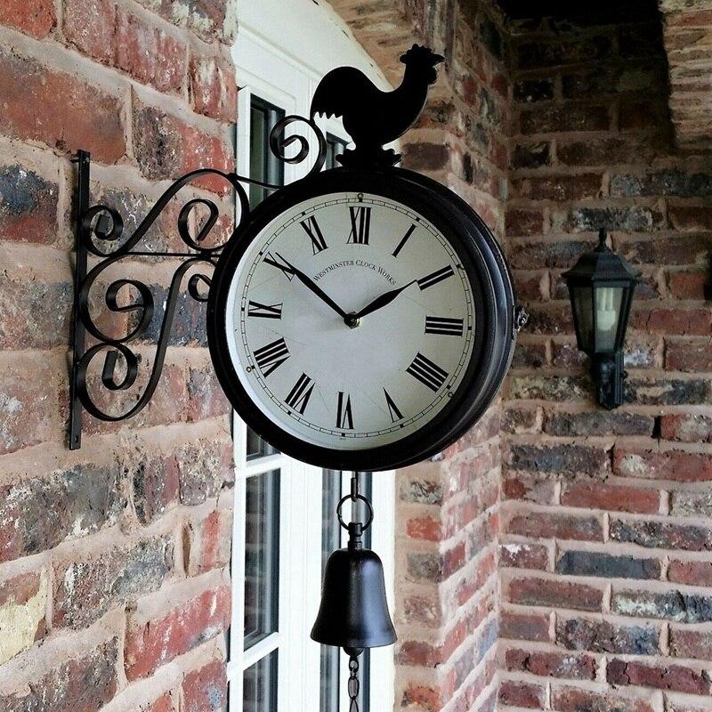 ELEG-Outdoor Garden Wall Station Clock Double Sided Cockerel Vintage Retro Home Decor