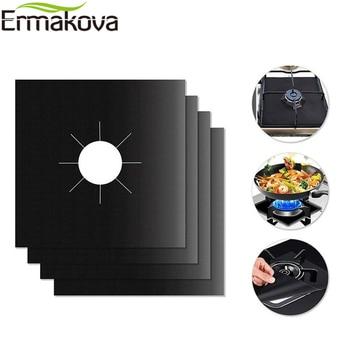 ERMAKOVA 2/4 Pcs Stove Burner Cover Non-stick Reusable Gas Stovetop Burner Liner Protector Heat Resistant Gas Range Protector