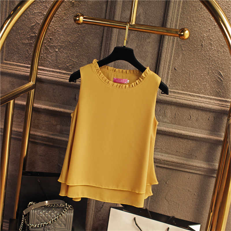 2020 נשים בתוספת גודל שרוולים שיפון חולצה S-4XL אופנה ראפלס חולצה הקיץ החדש Loose Blusas קוריאני O-צוואר חולצות 64406