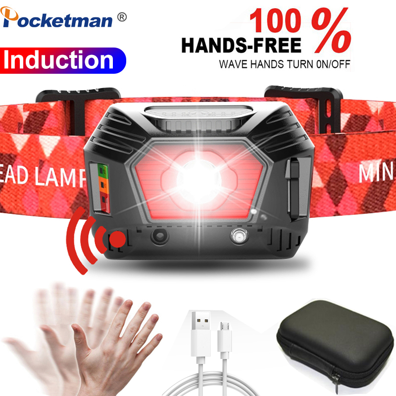 30000LM Body Motion Sensor Most Powerful Headlamp LED Headlight USB Rechargeable Head Light Lamp Fishing Camping Hunting