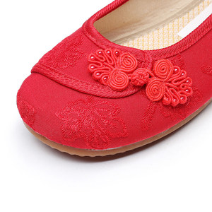 Image 5 - Veowalk Chinese Knot Women Cotton Fabric Embroidered Ballet Flats Retro Ladies Casual Traditional Old Beijing Shoes Solid Color