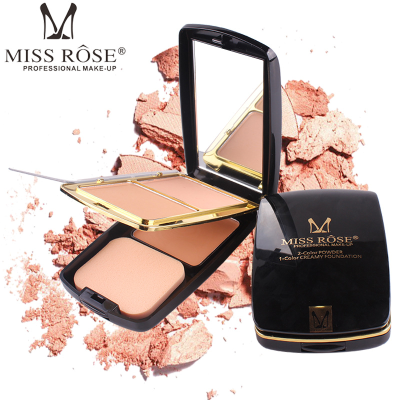 MISS ROSE Professional 2 color powder 1color Creamy Foundation Face Full Cover Palette Face Concealer with Mirror Powder puff
