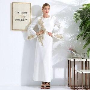 Image 3 - ドバイトルコイスラム教徒ヒジャーブドレスカフタンアメリカイスラム服アバヤabayasドレス女子ローブmusulmanファムvestidos