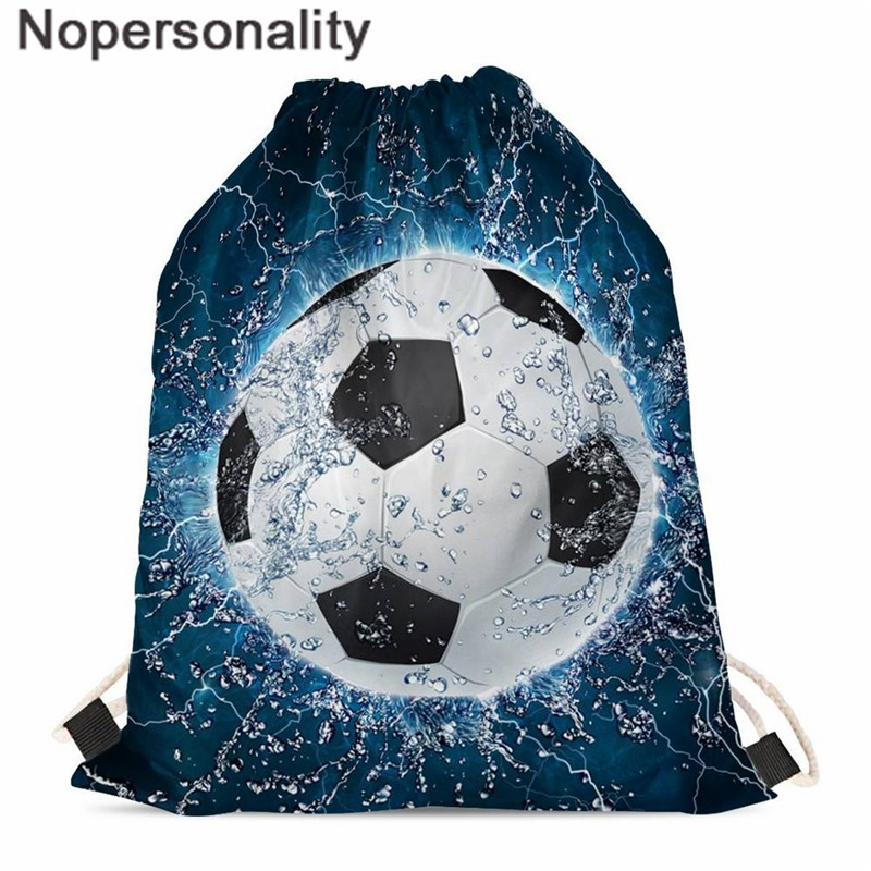 Nopersonality Unisex Drawstring Bag Polyester Football/Soccer Basketball Print String Backpack For Male Women Light Folding Bag