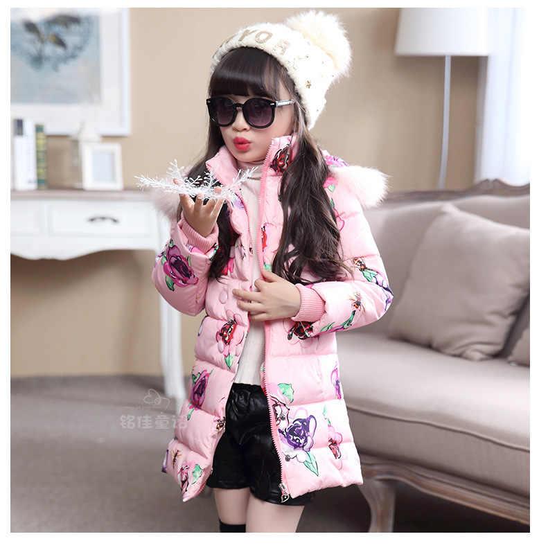 Детские Пуховые хлопковые куртки зимняя теплая куртка с меховым воротником и капюшоном для девочек модная утепленная хлопковая верхняя одежда и пальто с цветами для девочек