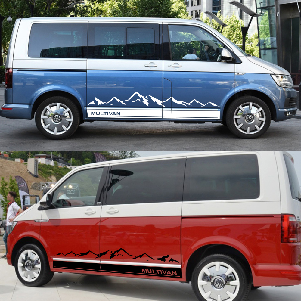 Image 3 - 2Pcs Side Stripes Car Stickers Vinyl Film Auto Mountain Graphics Decals For Volkswagen Multivan Styling Car Tuning Accessories-in Car Stickers from Automobiles & Motorcycles
