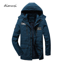 DIMUSI Winter Herren Bomber Jacken Casual Plus Samt Dicke Warme Mäntel Lässige Herren Mid-Lange Windjacke Jacken Kleidung 5XL(China)