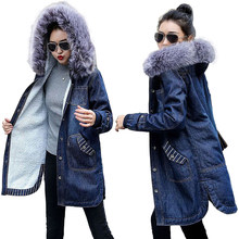Winter Warm Fur Denim Jacket Women Bomber Jacket Long Sleeve Female Jeans Jacket with Warm wool Lining Front Button Flap Pockets(China)