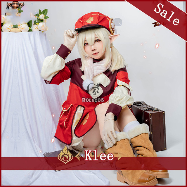 ROLECOS Genshin Impact Cosplay Costume Klee Cosplay Costume Women Red Costume Cute Girl Halloween Dress Pants Glove Hat Full Set 2