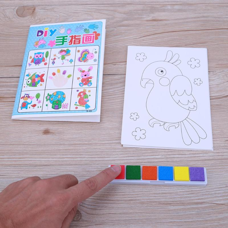 8PCS/set Finger Painting Card 6 Colors Ink Pad Stamp Cartoon Animals DIY Craft Learning Education Drawing Toys For Children Kid