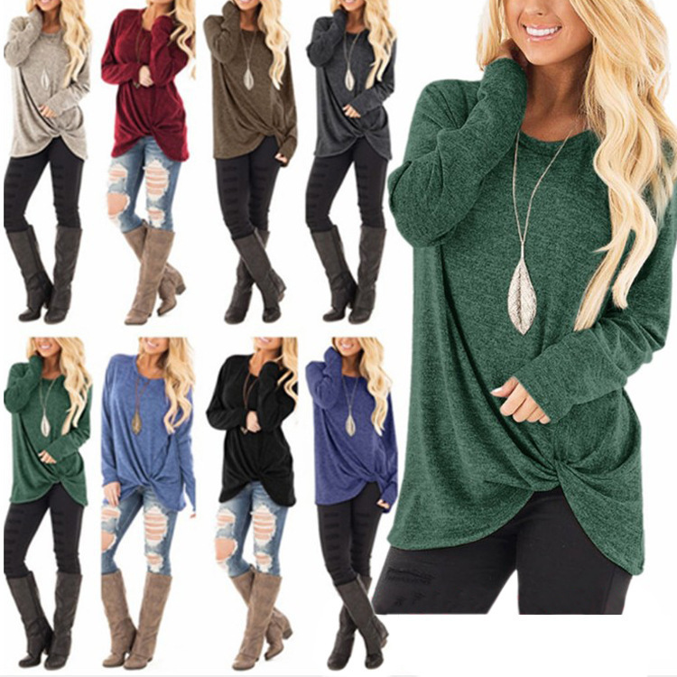 New 2019 Autumn Winter Women's Comfy Casual Long Sleeve Side Twist Knotted Tops  Tunic T Shirts Thin Style 2