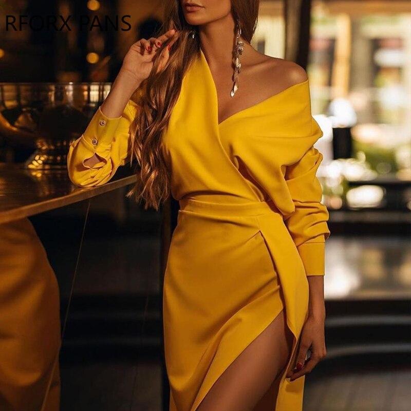 Solid V Neck Slit Dress Bodycon Dress Women Dress