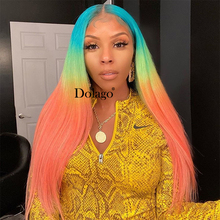 Lace Front Human Hair Wigs Rainbow Colored Straight Lace Frontal Wig Brazilian Transparent Full T Color Lace Dolago Colorful Wig