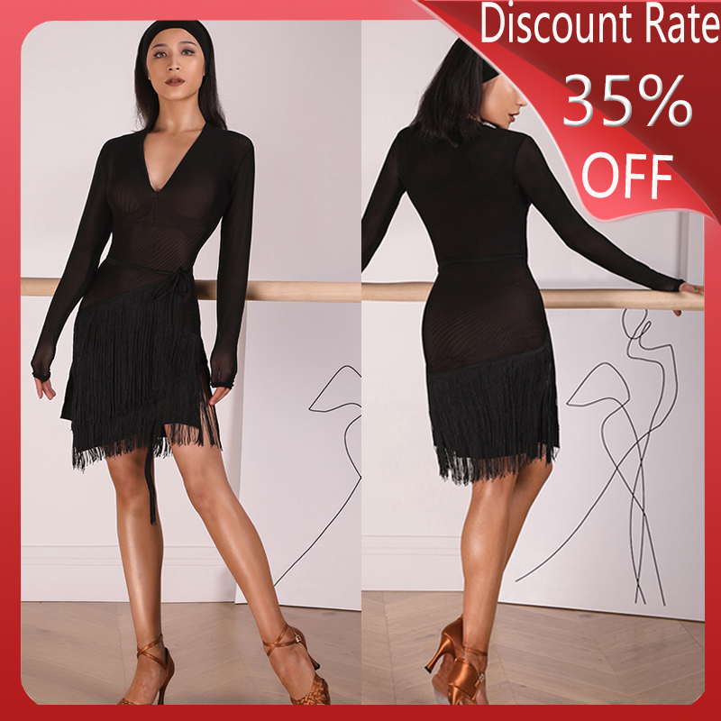 Winter Latin Dance Competition Dress Women Latin Dance Fringed Skirt Dress Sexy Long Sleeve Latin Salsa Practice Clothes DQS3442