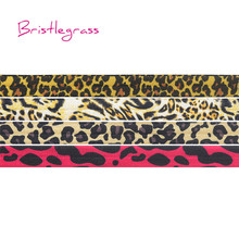 BRISTLEGRASS 5 Yard 5/8 15mm Leopard Print Shiny FOE Fold Over Elastic Spandex Band Kids Hair Tie Headband Lace Trim DIY Sewing