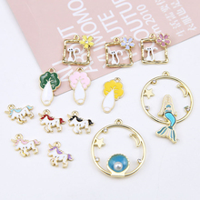 4 pcs hot sale jewellery diy handmade alloy dripping cabbage cat starry sky mermaid pendant cartoon earrings for girls material