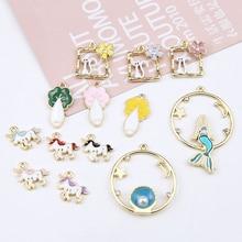 6pcs Hot Sale Jewellery Diy Handmade Alloy Dripping Cabbage Cat Starry Sky Mermaid Pendant Cartoon Earrings For Girls Material