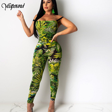 Sexy Printing Bandage Camisole Wrap Chest Jumpsuit Backless Tie Back Snap Buttons Lace Up Rompers Womens Jumpsuit Ropa Mujer