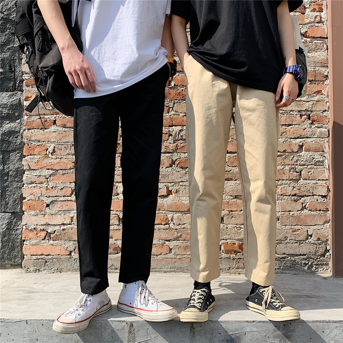 INS Super Fire Bib Overall Men's Popular Brand Hong Kong Style Pendant Sense Loose Pants Straight-leg Pants Summer Loose-Fit Jap