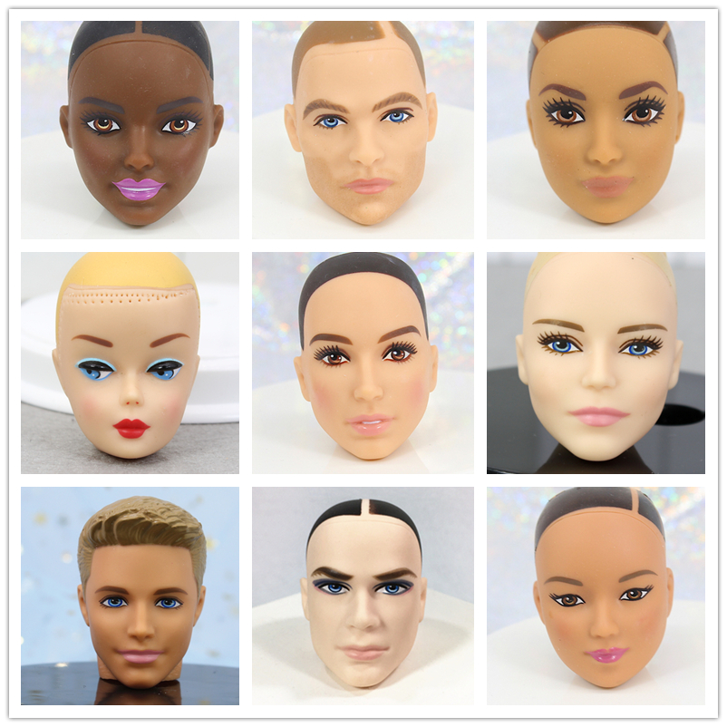 Original Doll Head / Brown & Black & Normal Skin Bald Head Doll Accessories DIY For 1/6 Doll ,Toys For Children