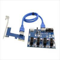 PCI E to 4 PCI E 1x Slot Adapter Extender Riser Card PCI E Adapter Multiplier Mining Card Kit with 6Pin Power + SATA Port