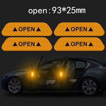 4 Pcs/Set Car Auto Door Open Sign Reflective Tape Night Driving Safety Warning Mark Sticker Decals Car Exterior Trim