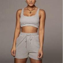 Женская спортивная одежда, комплект из двух предметов, однотонный Повседневный женский спортивный костюм, короткий топ и шорты на шнуровке,...