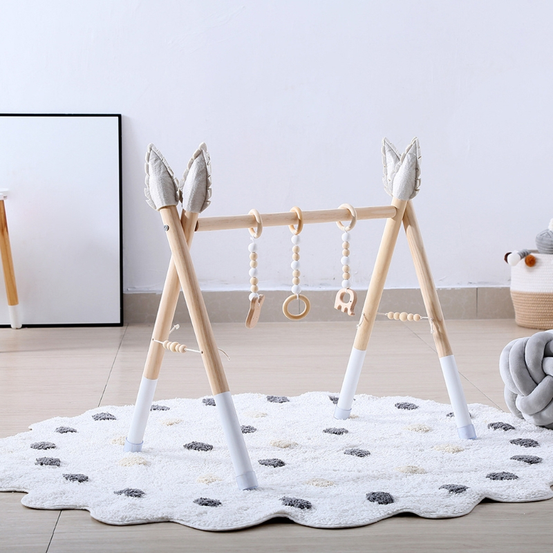 1 Set Nordic BPA Free Wooden Baby Gym Frame Nursery Play Sensory Ring-pull Toy Baby Room Decor Newborn Baby Educational Toys