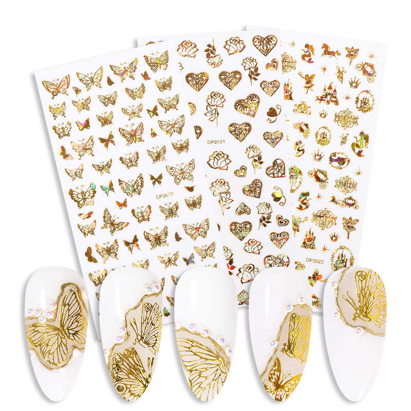 1 Sheet Nail Sticker 3D Colorful Butterfly Snowflake Transfer Decal Sliders For Nail Art Decoration Tattoo   Tools