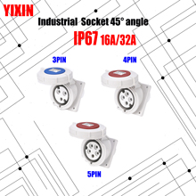 цена на Industrial Socket Angle 45° 16A 32A 63A 3 pin 4 pin 5 pin ip44 Panel Mounted Socket Waterproof 220V 380V 415V