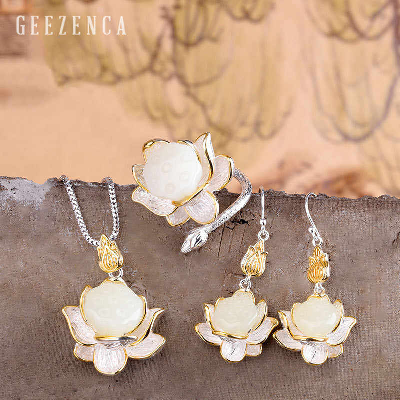925 Sterling Silver Gemstone Hetian Jade Jewelry Set Pendants Earrings Ring Handmade Lotus Flower Bud Fine Jewelry Women Vintage