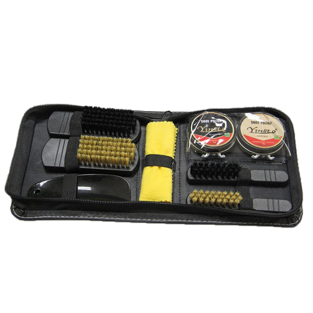 8pcs Set Shoes Shine Polish Cleaning Brushes Set Kit Shoe Care Kit In Travel Case Bag 13.5 X 14.3 X 4.8 Cm