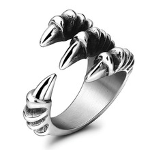 Punk Rock 316L Stainless Steel Mens Biker Rings Vintage Gothic Jewelry Silver Color Dragon Claw Ring Men