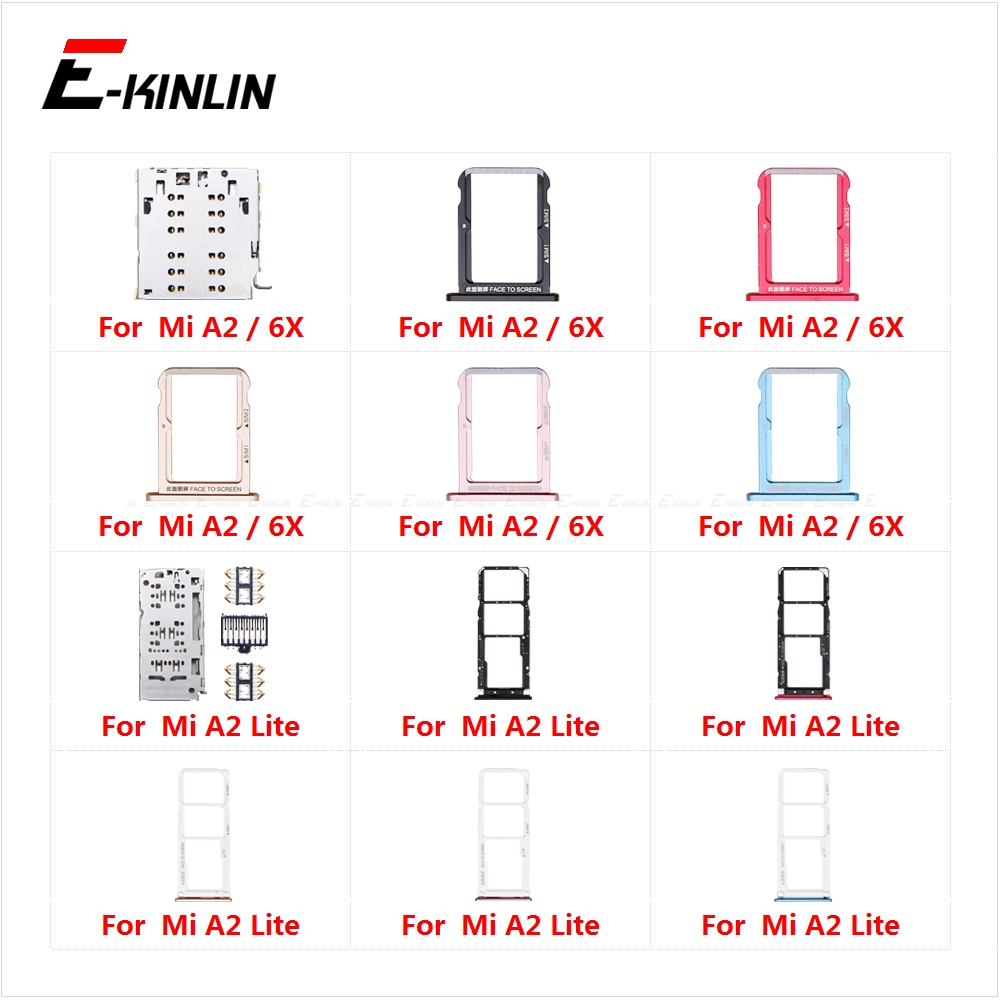Sim Card Tray Socket Slot Reader Adapter For XiaoMi Mi A2 Lite 6X Micro SD Card Holder Connector Container Replacement Parts