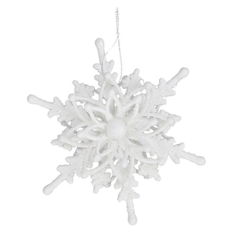 12 см Рождественский ледяной Белый 3D Снежинка, Пластиковые блестящие рождественские Подвесные Украшения для рождественской елки, украшения...