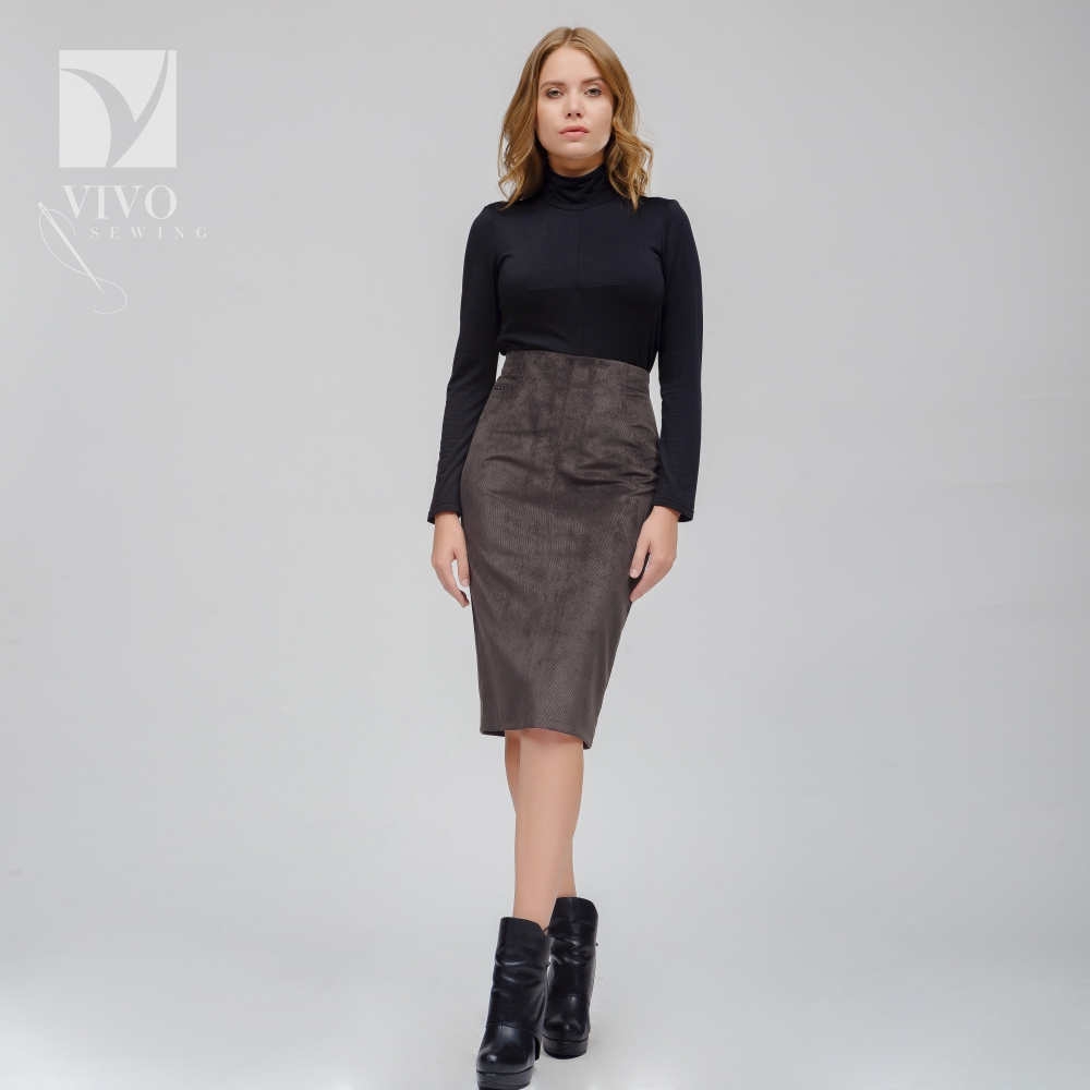 Skirts Vivostyle 3s009 pencil skirt for women for females long skirt Cotton Khaki Casual ladylike long sleeve round collar plaid t shirt flounced skirt twinset for women