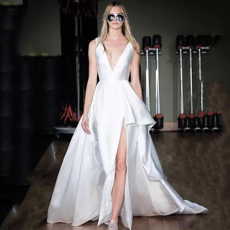 High Slit Modern Wedding Dress 2020 V Neck Sleeveless High Low A Line Simple Satin Vestido De Novia Bridal Gowns Open Back