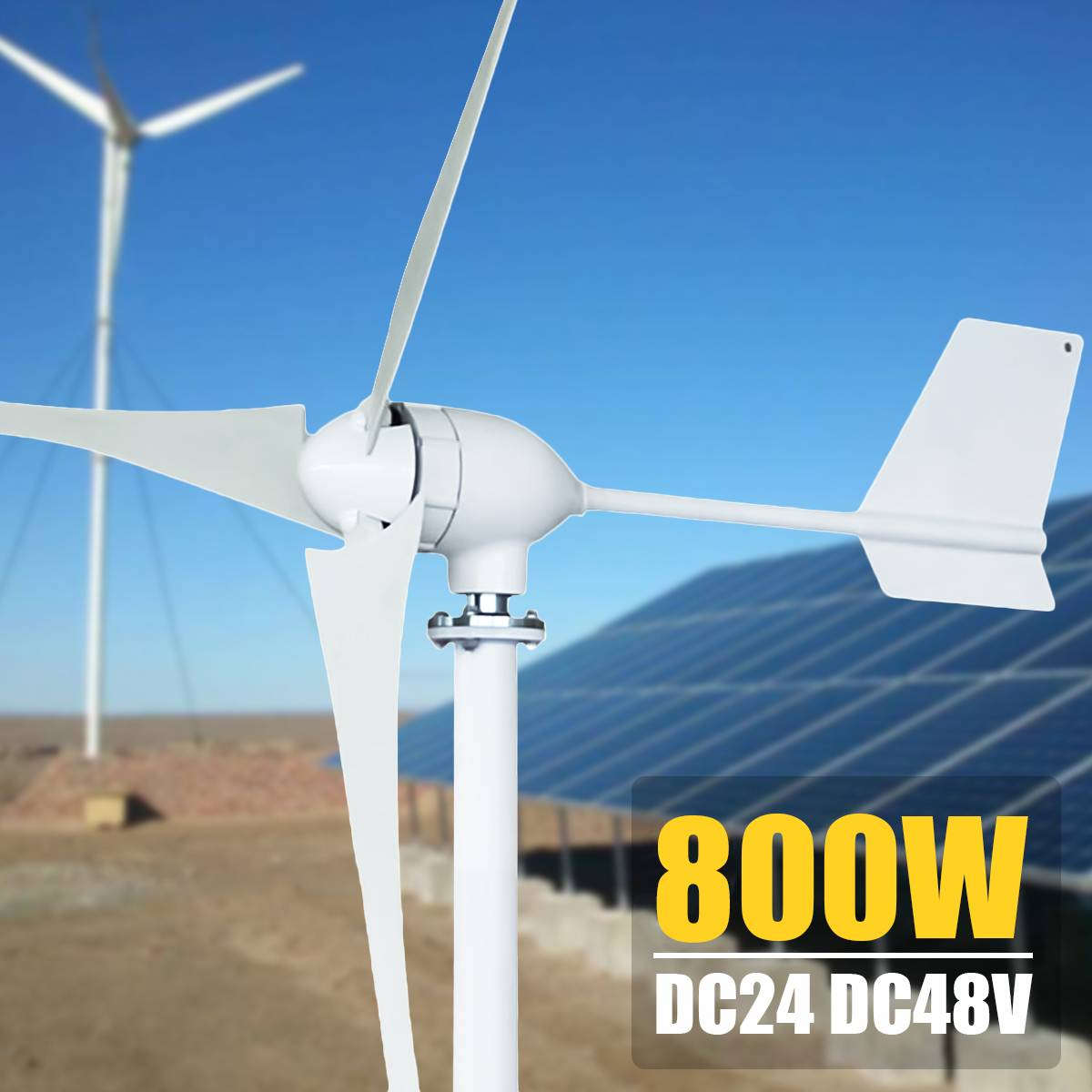 800W 24/48V Horizontal-Axis 3/5-Blades Wind Turbines Generator 3-Phase AC Permanent-Magnet Synchronous power Supply Generator