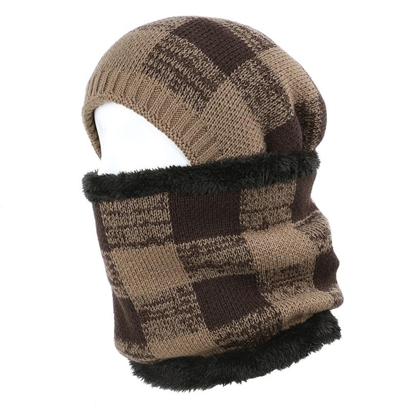 Unisex Knitted Sports Gloves Warm Hat Scarf Winter Camouflage Set Beanie