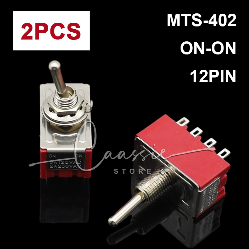 2pcs red 6A/125VAC 2A/250VAC 12 Pin 4PDT ON/ON 2 Position Mini MTS-402 Toggle Switch