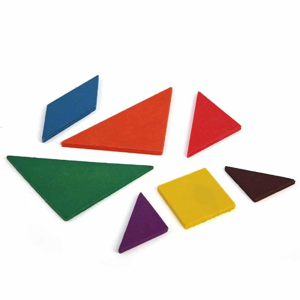 עץ טנגרם 7 חתיכה פאזל צורה גיאומטרית צבעוני כיכר IQ משחק המוח טיזר אינטליגנטי צעצועים חינוכיים לילדים