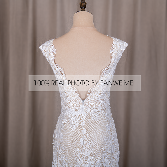 794#Deep V-Neck Sexy Backless Cap Sleeve Lace Sheath Boho Bohemian Wedding Bride Dress REAL PHOTO FACTORY PRICE CUSTOM MADE 6