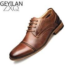 Nuevos zapatos de vestir para hombre, zapatos de cuero genuino de negocios Vintage de talla grande, calzado de cordones marrón cómodo para hombre